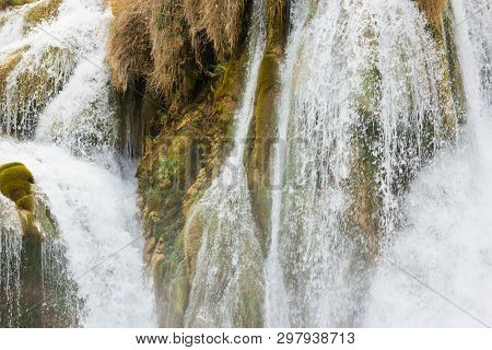 Krka, Sibenik, Croatia, Europe - Spindrift Of A Waterfall At Krka
