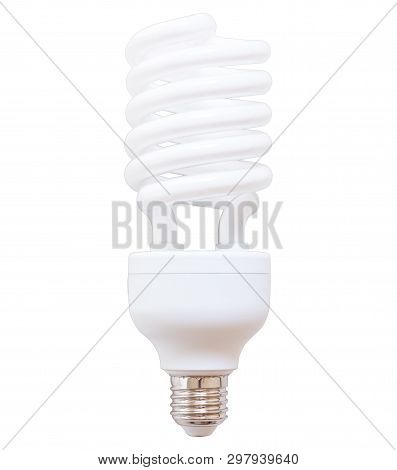 White Energy Saving Bulb, Fluorescent Bulb Isolated On White Background With Clipping Path.