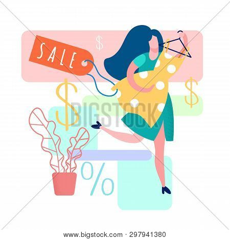 Woman Holding Dress Cartoon Vector Illustration. Gown Boutique, Showroom. Percentage Discount For Cu