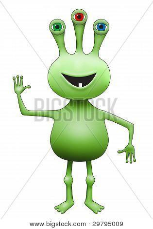 Green Three-eyed Extraterrestrial Alien Waving