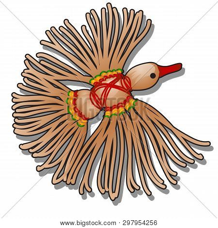 Doll-amulet Bird Of Happiness Made Of Jute Twine And Colored Yarn Isolated On White Background. Vect