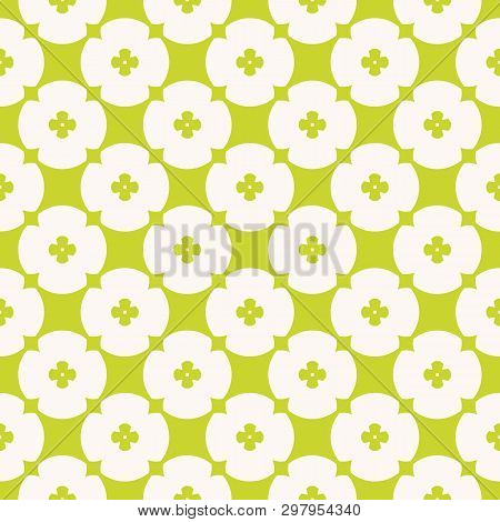 Simple Minimalist Floral Texture. Vector Geometric Seamless Pattern With Small Flowers, Circles, Cro