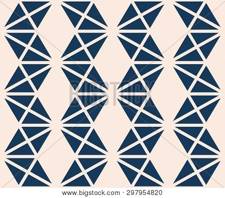 Triangles Seamless Pattern. Vector Abstract Geometric Texture In Deep Blue And Beige Color. Simple G