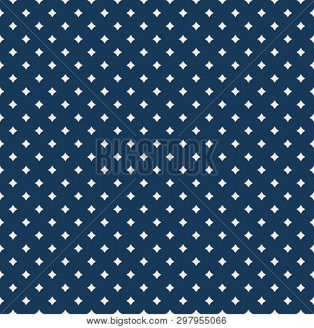 Subtle Vector Geometric Seamless Pattern With Small Diamonds, Stars, Rhombuses. Simple Minimal Dark