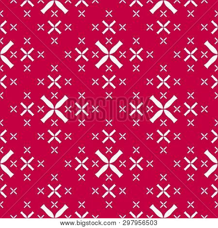 Vector Geometric Seamless Pattern With Small Flower Silhouettes, Crosses, Sparkles. Stylish Red And