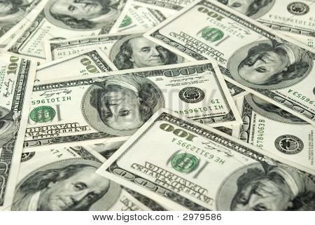 Money background from hundreds dollars. money concept poster