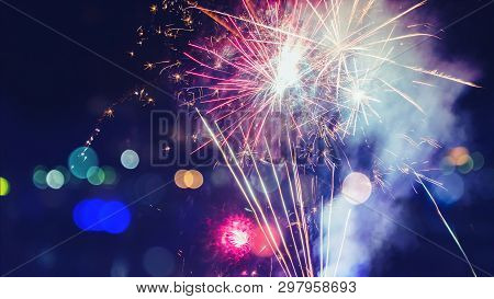 Abstract Colorful Fireworks For Design Banners, Invitations And Greeting Cards. Background Festive N