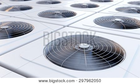 Close Up Image Of Hvac System Units With Fans. Heating, Ventilation And Air Conditioning Concept. 3d