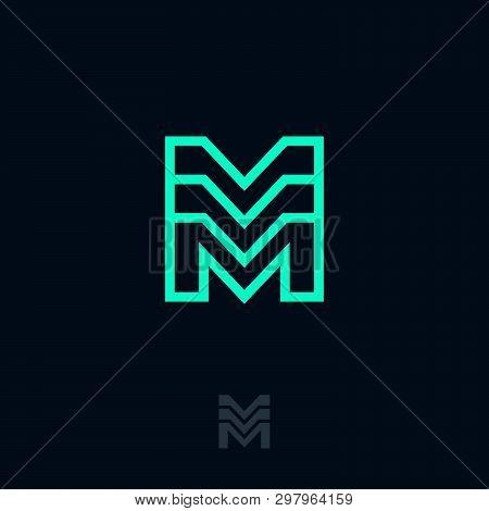 M Logo. Module Emblem. Building Logo. M Monogram. M Letter On A Dark Background. Premium Business Em