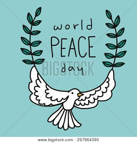 Love And Peace Word And Cute White Pigeon Cartoon Illustration