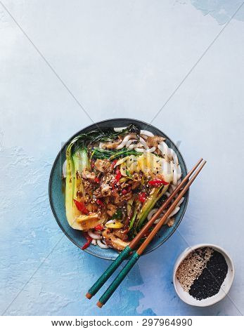 Vegetable Udon Noodle Soup. Sesame Udon With  Bok Choy And Shiitake Mushrooms, Ready To Eat. Top Vie