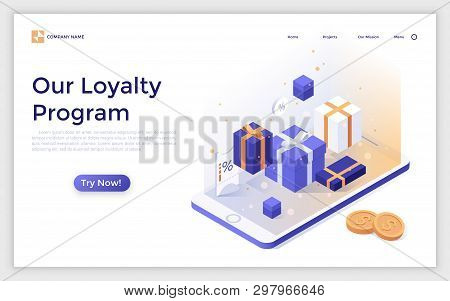 Landing Page With Gift Boxes, Mobile Phone And Coins. Modern Isometric Vector Illustration For Adver