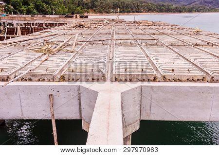 Reinforce Concrete Beams And Precast Slabs Of Under Construction Pier, Thailand