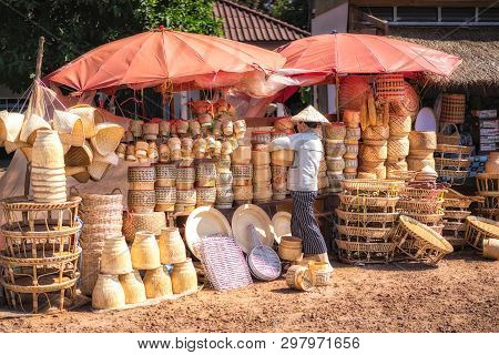 Laos - October 21, 2017: Rattan And Bamboo Wickerwork Handmade From Natural Material At The Street M