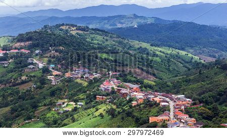 High Angle View Landscape Of Doi Mae Salong Mountain With Hill Tribe Village. Doi Mae Salong Is In N