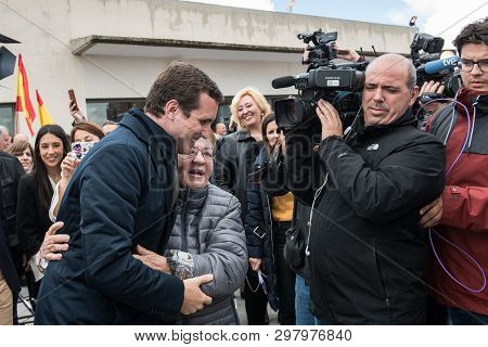 Caceres, Extremadura, Spain - April 18, 2019: Arrival And Greetings From Pablo Casado, Leader Of The