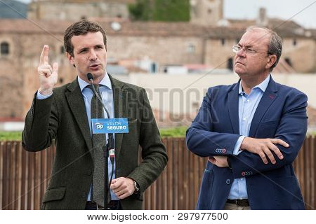 Caceres, Extremadura, Spain - April 18, 2019: Conservative Popular Party Conference In Caceres Of Pa