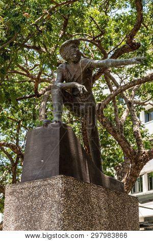 Darwin Australia - February 22, 2019: Statue Of John Mcdouall Stuart Set In Small Raintree Park And