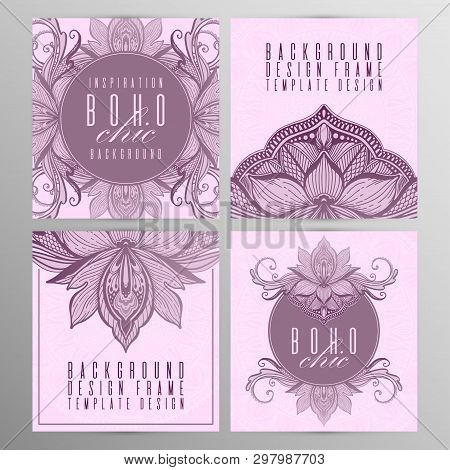 Vector Vintage Mandala Lotus Card Set Pink Color. Oriental Design Layout. Islam, Arabic, Indian, Ott
