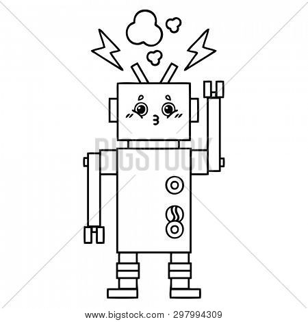 line drawing cartoon of a robot malfunction