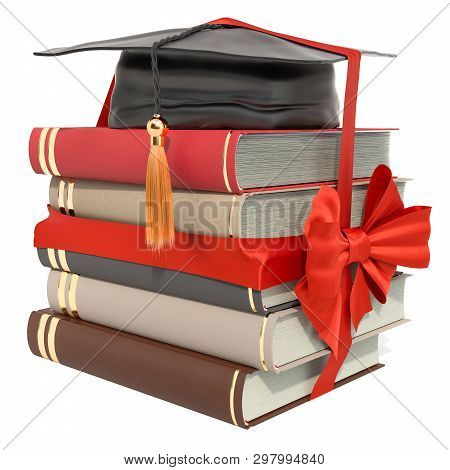 Books And Graduation Hat With Red Bow And Ribbon. Scholarship For Education In Gift Concept. 3d Rend