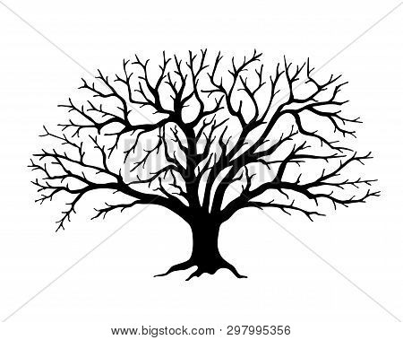 Black Silhouette Illustration Apple Tree Without Leaves. Icon Tree Isolated On White Background. Tem