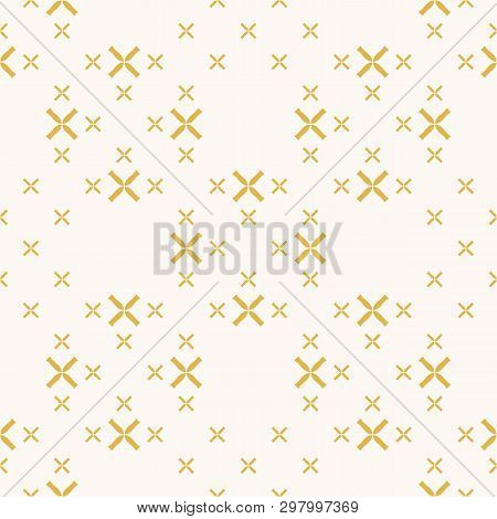 Vector Geometric Seamless Pattern With Small Flowers, Crosses. Elegant Minimalist Texture In Yellow