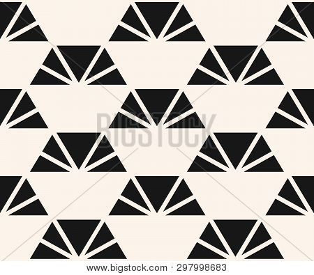 Vector Minimalist Pattern With Triangles, Pyramid Shapes. Black And White Abstract Geometric Texture
