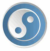 yin yang   blue chinese  illustration feng shui  balance zen silhouette taoism poster