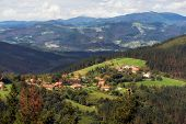 Vizcaya village and mountain landscape, Basque country, Spain. poster