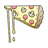 gradient shaded quirky cartoon cheesy pizza poster