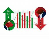 Trader Bull and Red Bear Opposite Sell Graphic. Forex Finance Stock Market. Invest Business Growth Capital. Financial Rate Speculation. Inflation Economic Trend Flat Vector Illustration poster