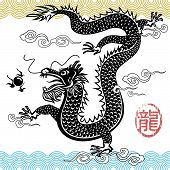 Chinese Traditional Dragon vector illustration file with layers poster