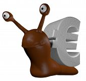 funny slug with euro symbol - 3d cartoon illustration poster