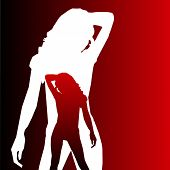 Predatory girl silhouette. Red background. Sexy girl poster