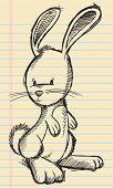 Notebook Doodle Sketch Easter Bunny Rabbit Vector Illustration Art poster