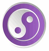 yin yang    chinese  illustration feng shui  balance zen silhouette taoism purple poster