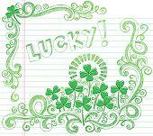 St Patricks Day Lucky Four Leaf Clover Shamrock Sketchy Doodle Back to School Style Notebook Doodles Vector Illustration on Lined Sketchbook Paper Background poster