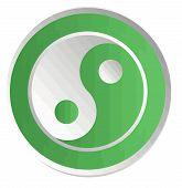 yin yang    chinese  illustration feng shui  balance zen silhouette taoism green poster
