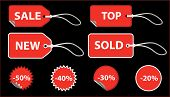 Set of red sale price tags. The text can be easily modified. See my portfolio for more stickers. poster