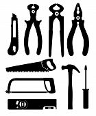 Set of Isolated Icons Building Tools for Repair. Pliers, nippers poster