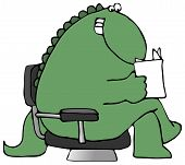 This illustration depicts a dinosaur sitting in a chair and reading a paper. poster