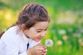 Beautiful Little Girl Blowing Dandelion Flower And Smiling In Summer Park. Happy Cute Kid Having Fun