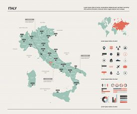 Vector Map Of Italy. High Detailed Country Map With Division, Cities And Capital Rome. Political Map