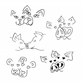 Black And White Vector Illustration. A Set With Muzzles Of Animals In Love. Doodle Style. Coloring P