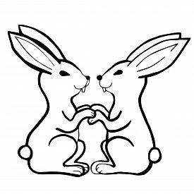 Black White Vector Illustration. Two Rabbits Sit  Facing Each Other And Hold On To Their Paws. Templ