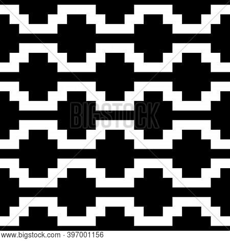 Figures Ornament. Seamless Pattern. Curves Backdrop. Folk Wallpaper. Embroidery Background. Tribal M