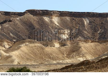 Mountain Scenery In Ramon Crater In The Negev Desert In Southern Israel. The Crater Is About 40 Km L