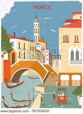 Venice Italy In Sunny Day In Old Style