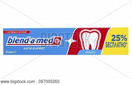 Ukraine, Kyiv - October 23. 2020: Blend-a-med Anti-caries,  Made By Procter & Gamble. File Contains